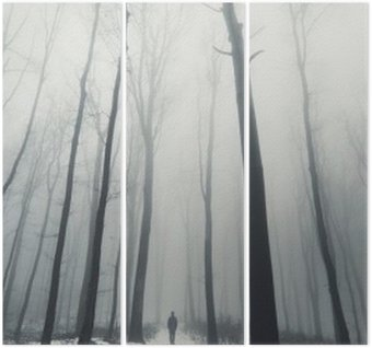 man in forest with tall trees in winter Triptych