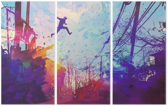 man jumping on the roof in city with abstract grunge,illustration painting Triptych