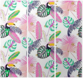 Monstera tropic pink plant leaves and toucan bird seamless pattern. Exotic nature pattern for fabric, wallpaper or apparel. Triptych