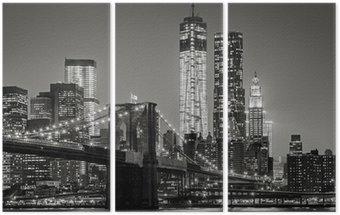 New York by night. Brooklyn Bridge, Lower Manhattan – Black an Triptych