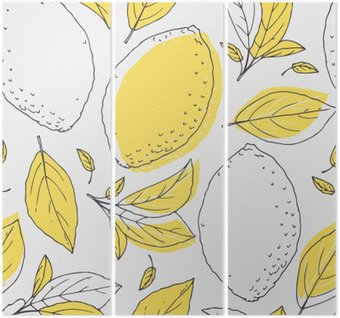 Outline seamless pattern with hand drawn lemon and leaves. Doodle fruit for package or kitchen design Triptych