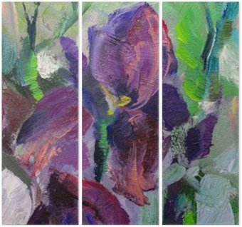 painting still life oil painting texture, irises impressionism a Triptych