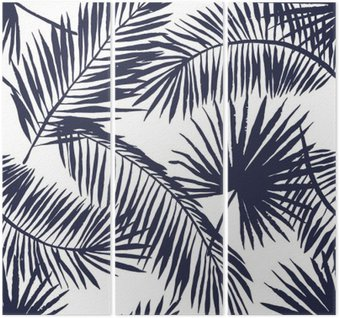 Palm leaves silhouette on the white background. Vector seamless pattern with tropical plants. Triptych
