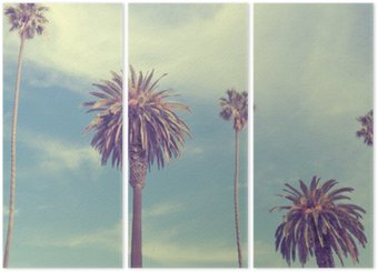 Palm trees at Santa Monica beach. Triptych