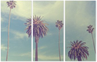 Triptych Palm trees at Santa Monica beach.