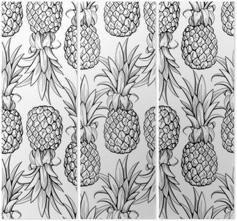 Triptych Pineapples seamless pattern