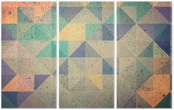 Pink and purple triangle abstract background illustration Triptych