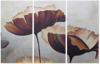 Triptych Poppy abstract painting