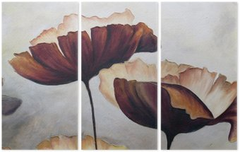 Poppy abstract painting Triptych