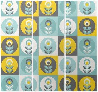 Retro floral pattern, geometric seamless flowers Triptych