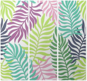 Seamless exotic pattern with palm leaves Triptych