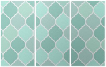 Seamless pattern turquoise tiles, vector Triptych