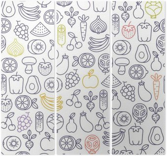 Triptych seamless pattern with fruits and vegetables icons