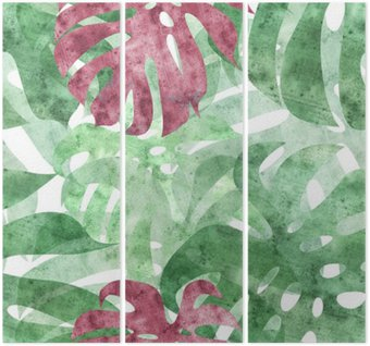 seamless repeatable monstera leaf background Triptych