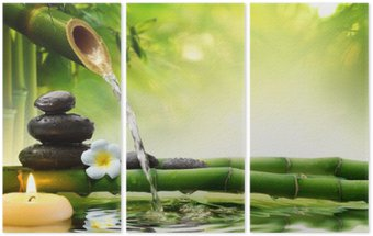 spa stones in garden with flow water Triptych