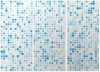 Squares blue technology pattern. Triptych