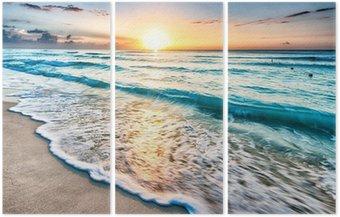Sunrise over beach in Cancun Triptych