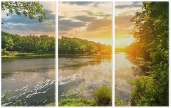 Triptych Sunset over the river in the forest