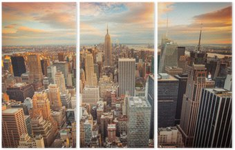 Triptych Sunset view of New York City looking over midtown Manhattan