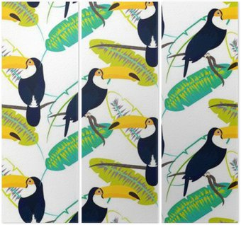 Triptych Toco toucan bird on banana leaves seamless vector pattern on white background. Tropical jungle leaf and exotic bird sitting on branch.