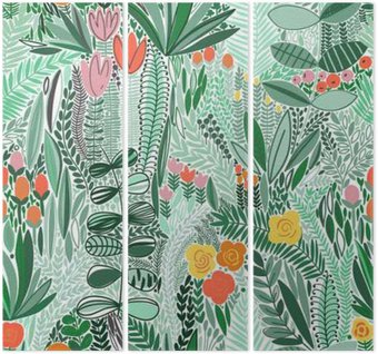 Tropical seamless floral pattern Triptych