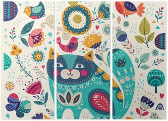 Vector colorful illustration with beautiful cat, butterflies, birds and flowers Triptych
