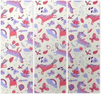 Triptych Vector cute floral seamless pattern with magic unicorns