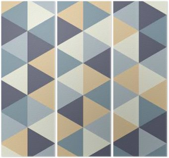 Vector modern seamless colorful geometry triangle pattern, color abstract geometric background, pillow multicolored print, retro texture, hipster fashion design Triptych