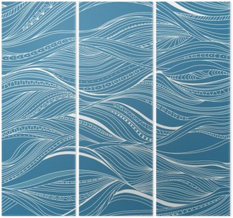 Vector seamless abstract pattern, waves Triptych