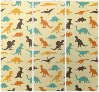 Triptych vector set silhouettes of dinosaur, retro pattern background