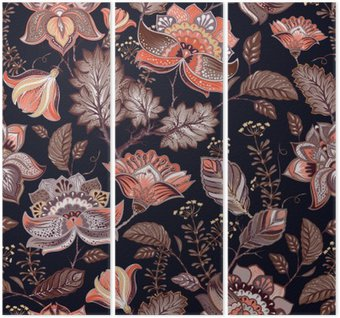 Vintage seamless pattern. Flowers background in provence style. Triptych