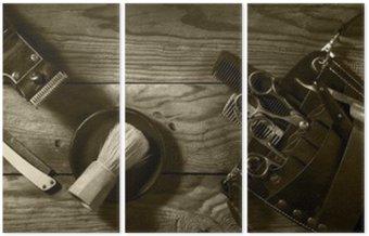 Triptych Vintage set of Barbershop.Toning sepia