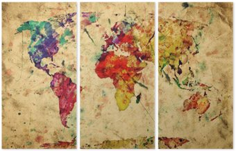 Vintage world map. Colorful paint, watercolor on grunge paper Triptych