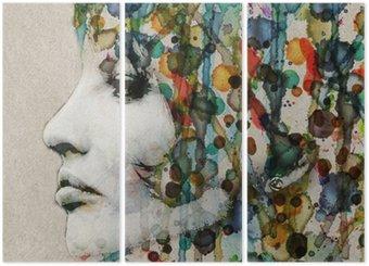 Watercolor female profile Triptych