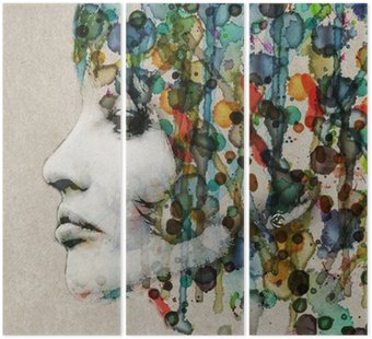 Watercolor female profile Triptych