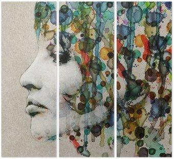 Triptych Watercolor female profile