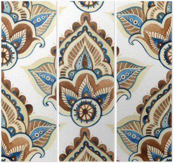 Watercolor indian ornament Triptych