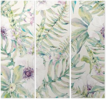 Watercolor leaf seamless pattern with ferns and flowers