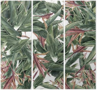 Triptych Watercolor painting of leaf and flowers, seamless pattern