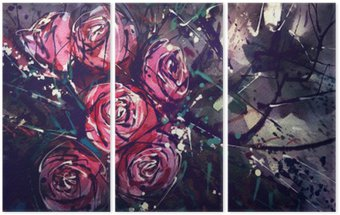 Triptych Watercolor painting style roses Abstract Art.