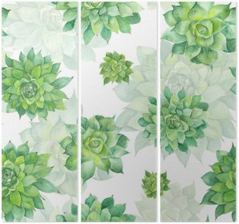 Triptych Watercolor Succulent Pattern on White Background
