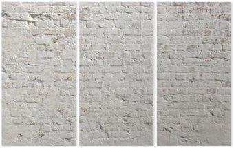 White grunge brick wall background Triptych