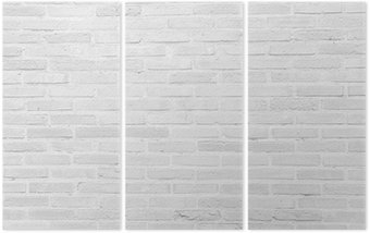 White grunge brick wall texture background Triptych