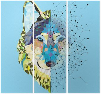 Triptych Wolf head in geometric pattern with star line vector