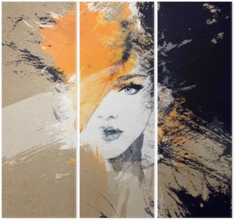 Triptych woman portrait .abstract watercolor .fashion background