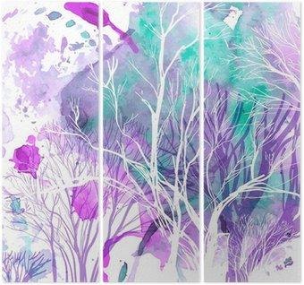 Triptychon Abstrakte Silhouette von Bäumen