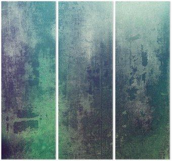 Triptychon Alte Textur als abstrakte Grunge-Hintergrund. Mit verschiedenen Farbmuster: grün; Purpur (Violett); grau; Cyan
