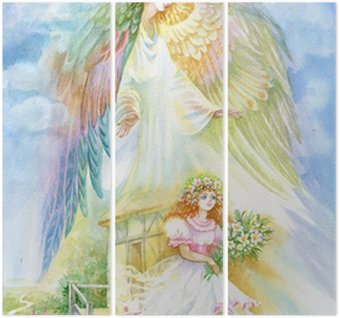 "Triptychon Aquarell ""Angel"""