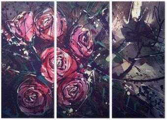 Triptychon Aquarellmalerei Stil Rosen Abstrakte Kunst.