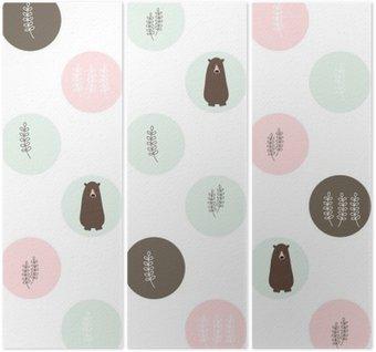 Triptychon Bär und Wald nahtlose Hintergrund. Vektor-Design-Illustration.